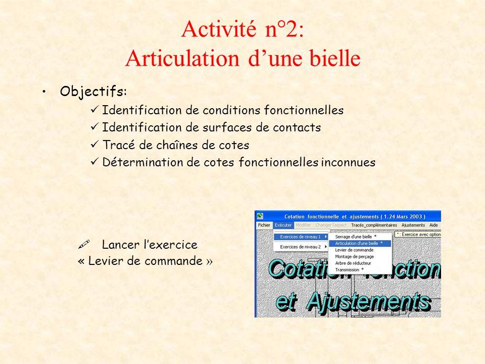 Activité n°2: Articulation dune bielle Objectifs: Identification de conditions fonctionnelles Identification de surfaces de contacts Tracé de chaînes de cotes Détermination de cotes fonctionnelles inconnues Lancer lexercice « Levier de commande »