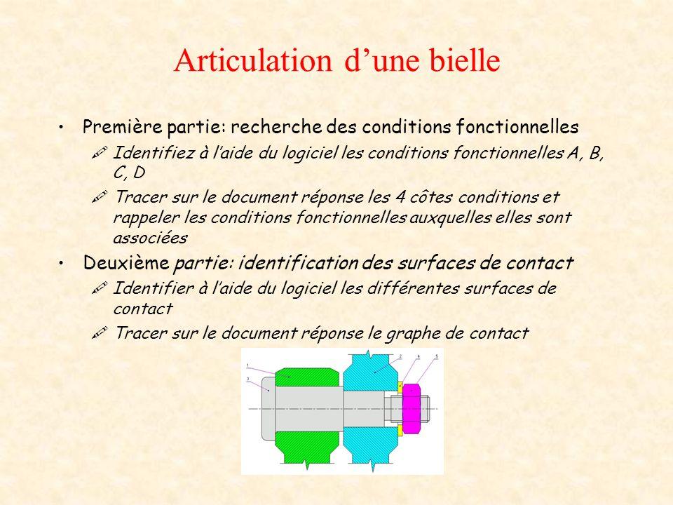 Articulation dune bielle Analyse de la condition fonctionnelle C: Tracé la chaîne de cote associée à C A la fin du tracé: répondre « oui » à la question « Souhaitez vous réaliser le calcul dune cote fonctionnelle » Déterminer la cote C3 A laide du logiciel et en cliquant sur les éléments du tableau, saisir léquation permettant de déterminer CMaxi Reporter sur votre feuille réponse les équations associées au jeu C Effectuez sur votre feuille les calculs permettant de déterminer C3 Dans le logiciel, remplir le tableau des valeurs de côtes intervenant dans le calcul de C Note: vous pouvez utiliser les outils en bas à droite, calcultrice pour effectuer un calcul, aide pour obtenir des informations sur un calcul faux