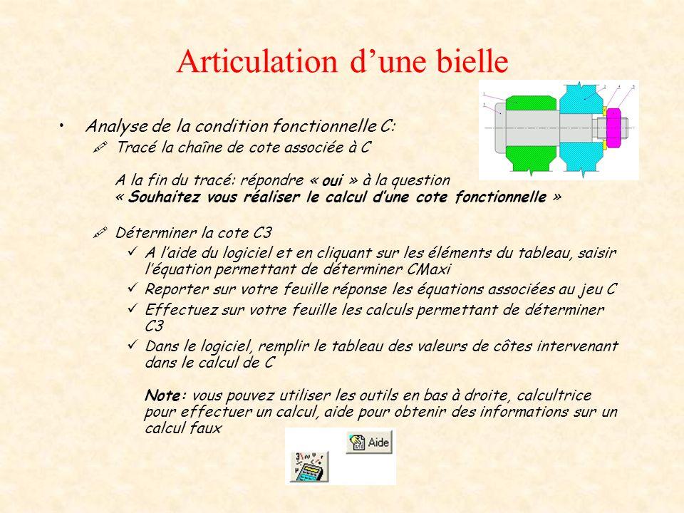 Articulation dune bielle Analyse de la condition fonctionnelle D: Tracé la chaîne de cote associée à D Déterminer la cote D3 Reprendre la démarhe précédente pour déterminer D2
