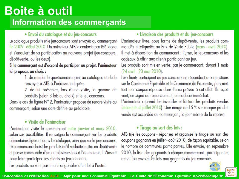 Boite à outil Information des commerçants Conception et réalisation Ap2E - Agir pour une Economie Equitable - Le Guide de lEconomie Equitable ap2e@orange.fr