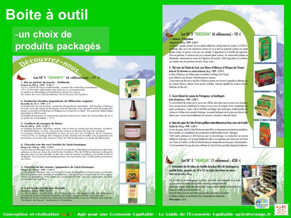 Boite à outil -un choix de produits packagés Conception et réalisation Ap2E - Agir pour une Economie Equitable - Le Guide de lEconomie Equitable ap2e@orange.fr