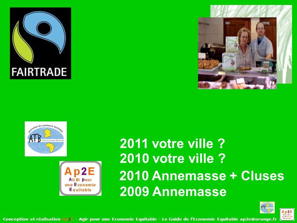 Conception et réalisation Ap2E - Agir pour une Economie Equitable - Le Guide de lEconomie Equitable ap2e@orange.fr 2009 Annemasse 2010 Annemasse + Cluses 2010 votre ville .