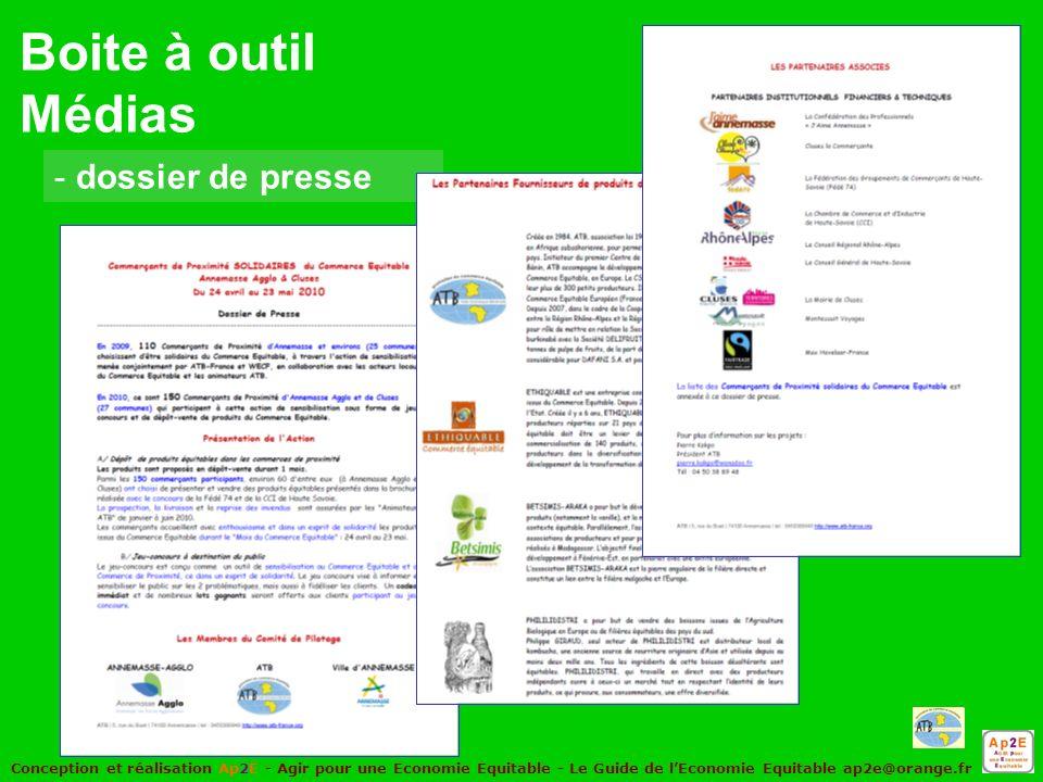 Conception et réalisation Ap2E - Agir pour une Economie Equitable - Le Guide de lEconomie Equitable ap2e@orange.fr - dossier de presse Boite à outil Médias