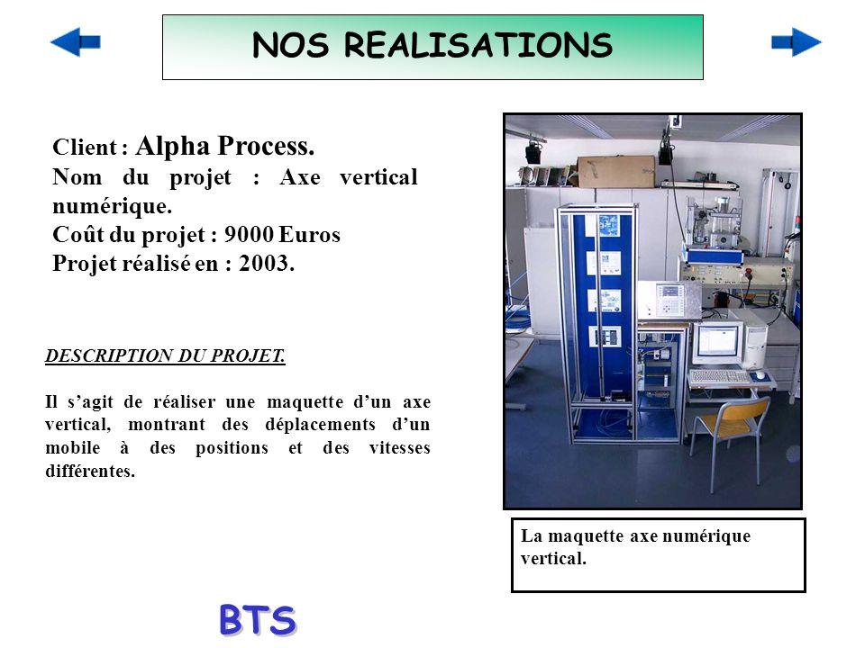 NOS REALISATIONS Client : Alpha Process. Nom du projet : Axe vertical numérique. Coût du projet : 9000 Euros Projet réalisé en : 2003. La maquette axe