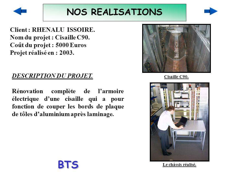 NOS REALISATIONS Client : RHENALU ISSOIRE. Nom du projet : Cisaille C90. Coût du projet : 5000 Euros Projet réalisé en : 2003. DESCRIPTION DU PROJET.
