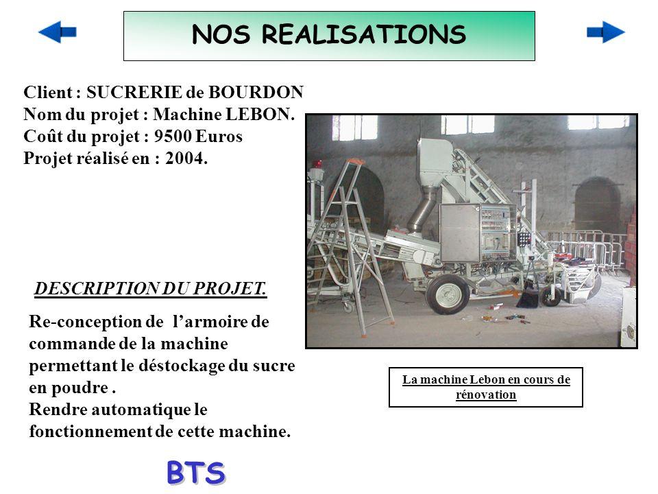 NOS REALISATIONS Client : SUCRERIE de BOURDON Nom du projet : Machine LEBON. Coût du projet : 9500 Euros Projet réalisé en : 2004. DESCRIPTION DU PROJ
