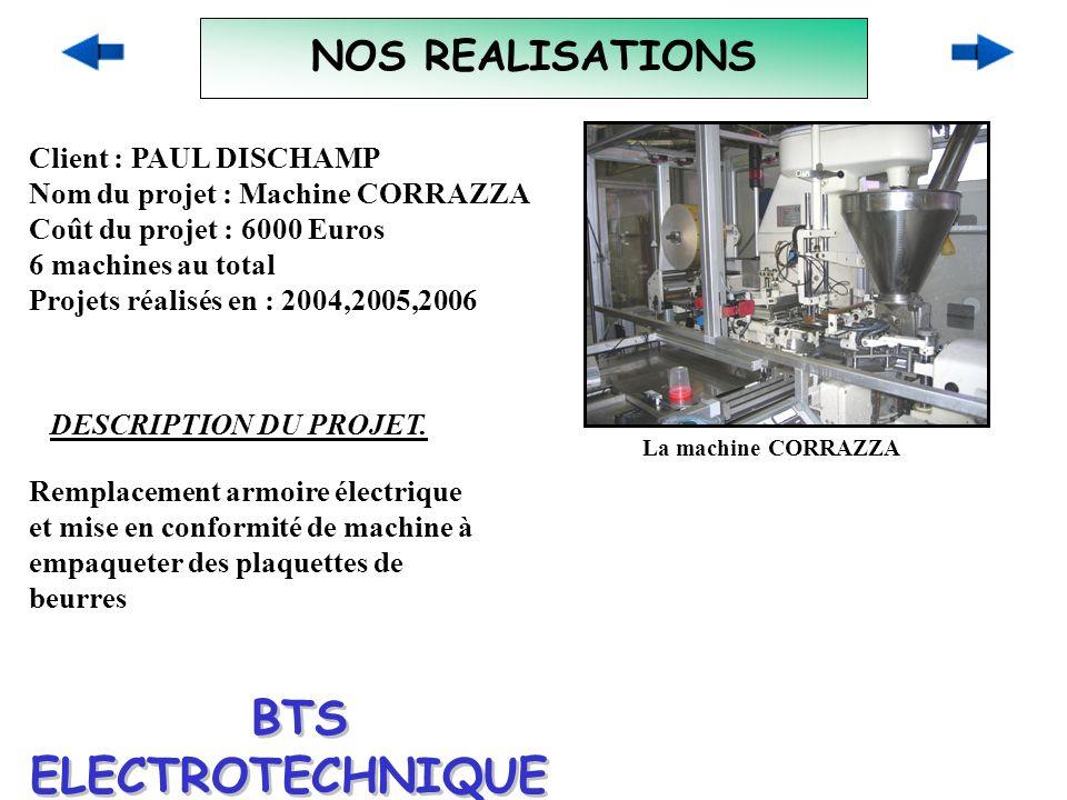 NOS REALISATIONS Client : PAUL DISCHAMP Nom du projet : Machine CORRAZZA Coût du projet : 6000 Euros 6 machines au total Projets réalisés en : 2004,20