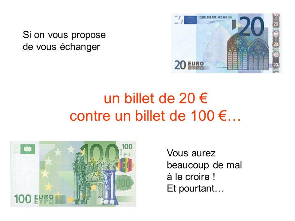 Si on vous propose de vous échanger un billet de 20 contre un billet de 100 … Vous aurez beaucoup de mal à le croire .