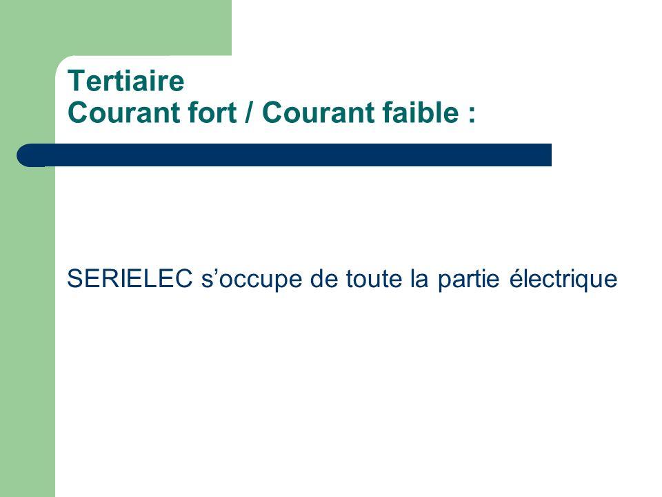 SERIELEC soccupe de toute la partie électrique Tertiaire Courant fort / Courant faible :