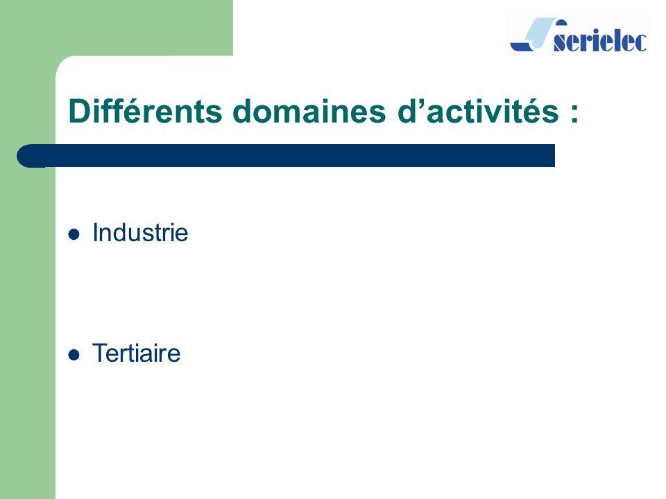 Industrie Tertiaire Différents domaines dactivités :