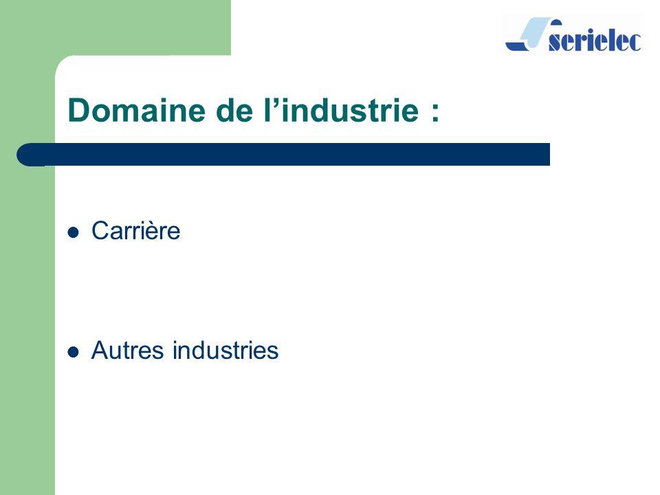 Carrière Autres industries Domaine de lindustrie :