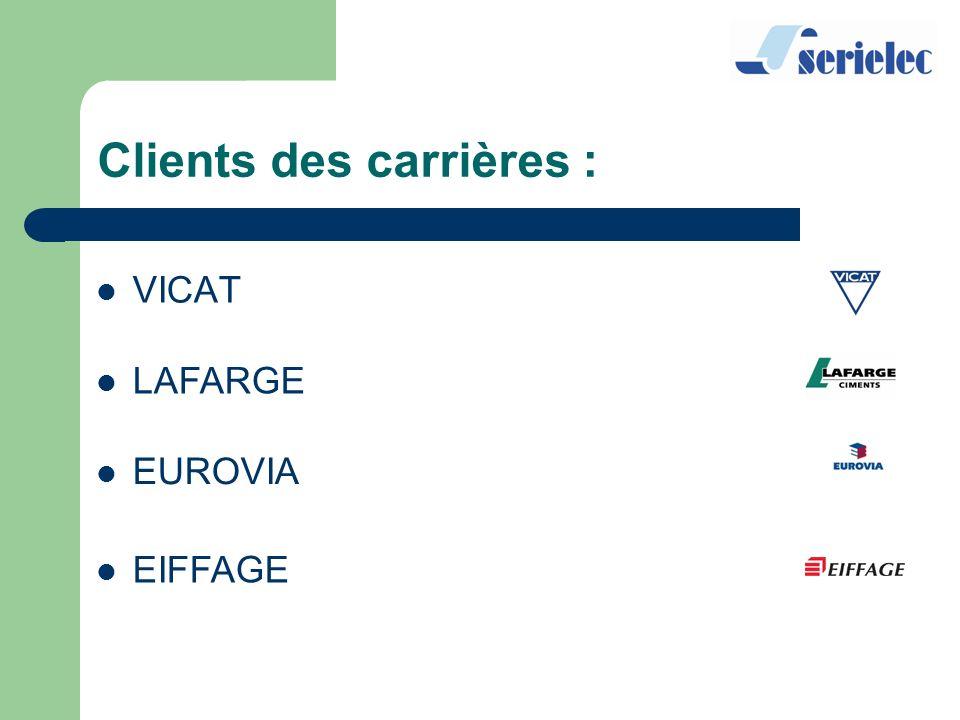 Clients des carrières : VICAT LAFARGE EUROVIA EIFFAGE