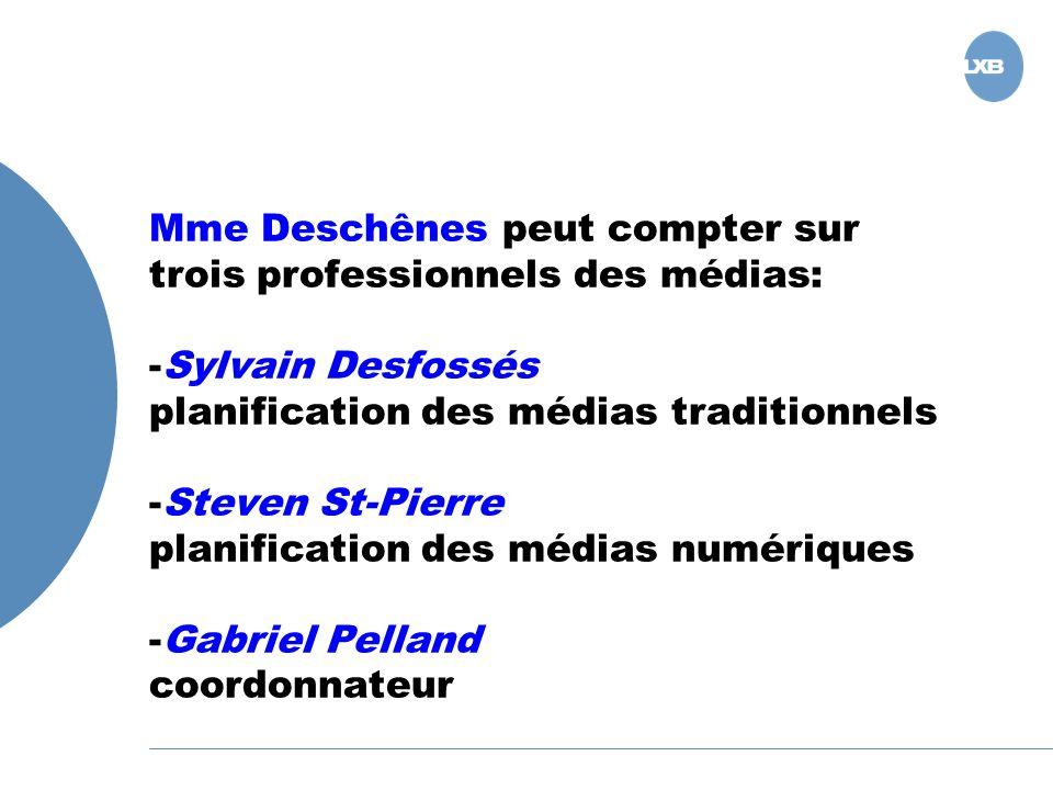 Mme Deschênes peut compter sur trois professionnels des médias: -Sylvain Desfossés planification des médias traditionnels -Steven St-Pierre planification des médias numériques -Gabriel Pelland coordonnateur