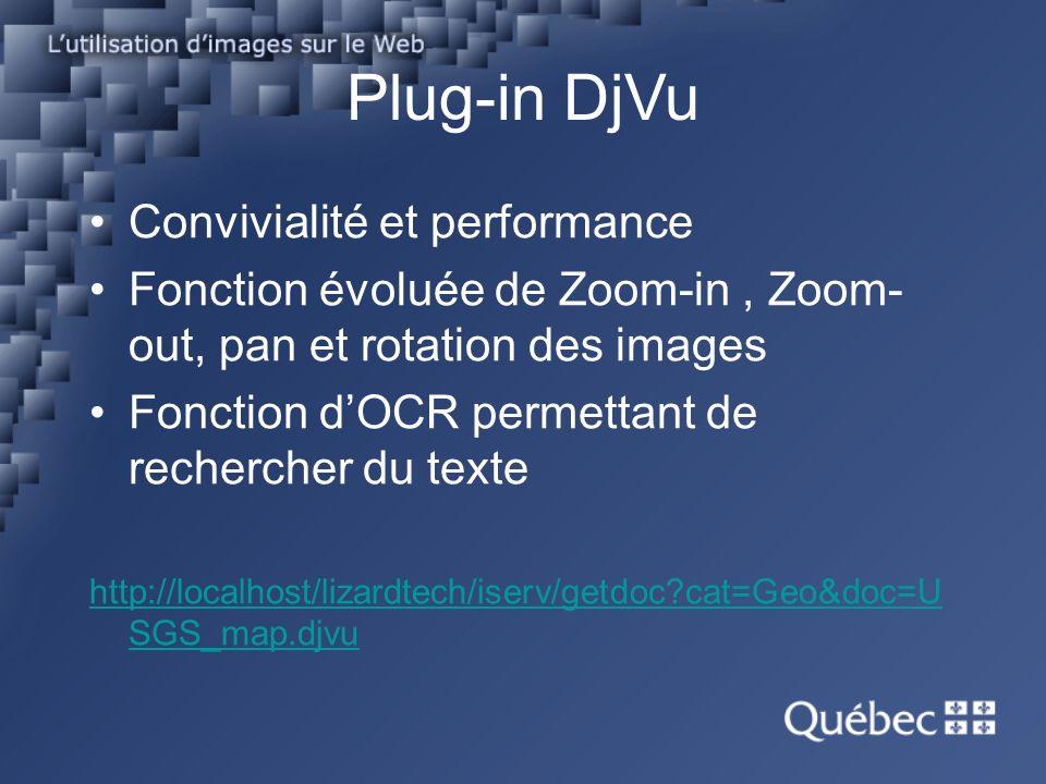 Plug-in DjVu Convivialité et performance Fonction évoluée de Zoom-in, Zoom- out, pan et rotation des images Fonction dOCR permettant de rechercher du texte http://localhost/lizardtech/iserv/getdoc?cat=Geo&doc=U SGS_map.djvu