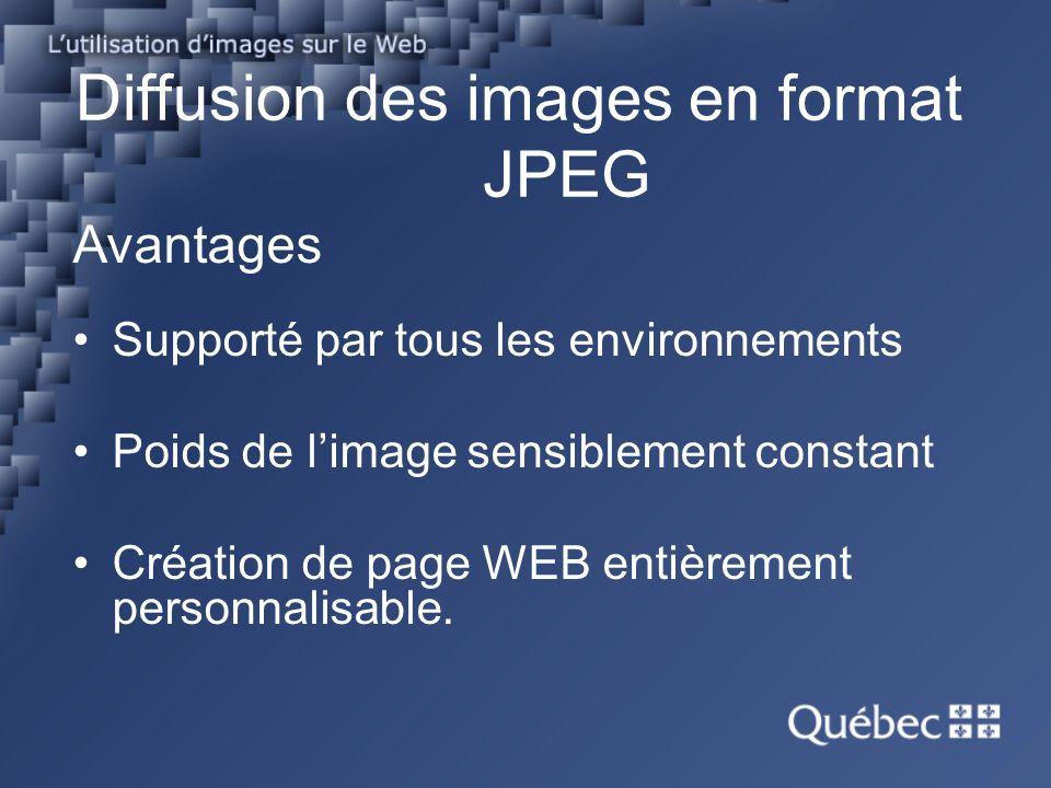 Avantages Supporté par tous les environnements Poids de limage sensiblement constant Création de page WEB entièrement personnalisable.