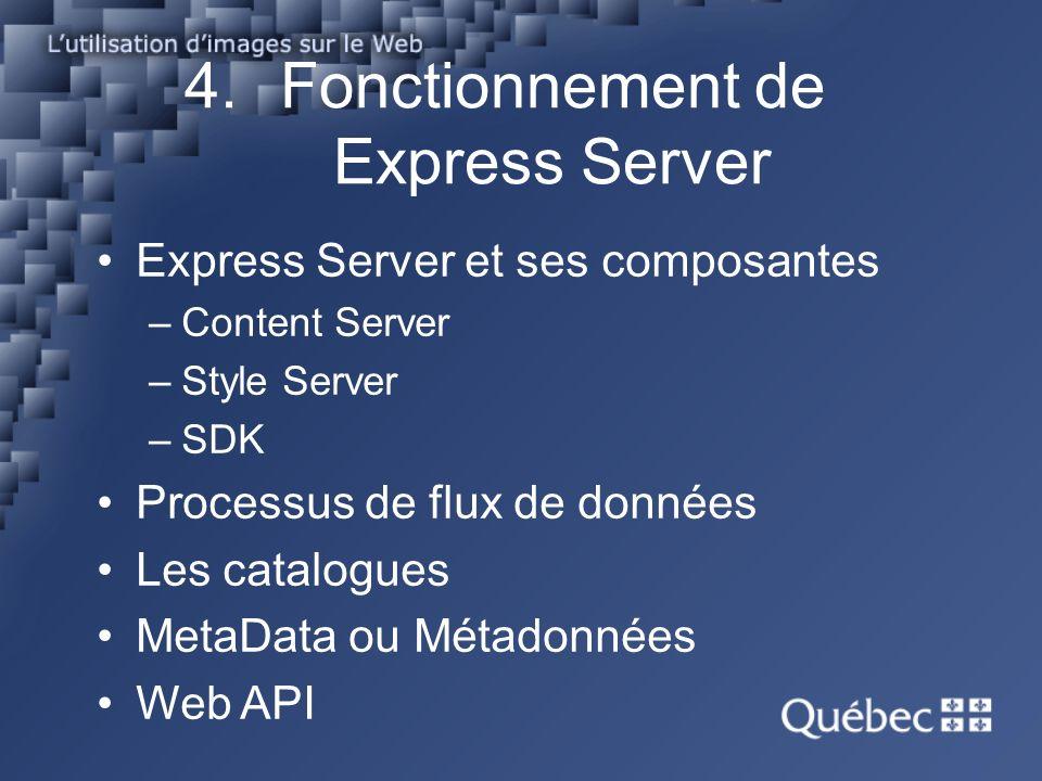 4.Fonctionnement de Express Server Express Server et ses composantes –Content Server –Style Server –SDK Processus de flux de données Les catalogues MetaData ou Métadonnées Web API