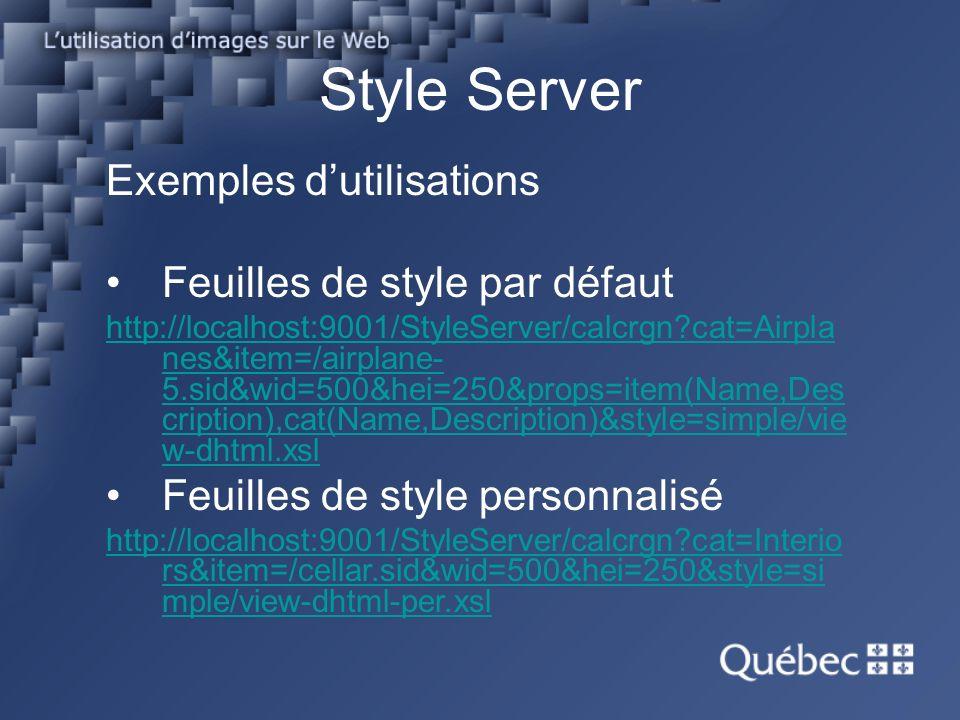 Exemples dutilisations Feuilles de style par défaut http://localhost:9001/StyleServer/calcrgn?cat=Airpla nes&item=/airplane- 5.sid&wid=500&hei=250&props=item(Name,Des cription),cat(Name,Description)&style=simple/vie w-dhtml.xsl Feuilles de style personnalisé http://localhost:9001/StyleServer/calcrgn?cat=Interio rs&item=/cellar.sid&wid=500&hei=250&style=si mple/view-dhtml-per.xsl Style Server