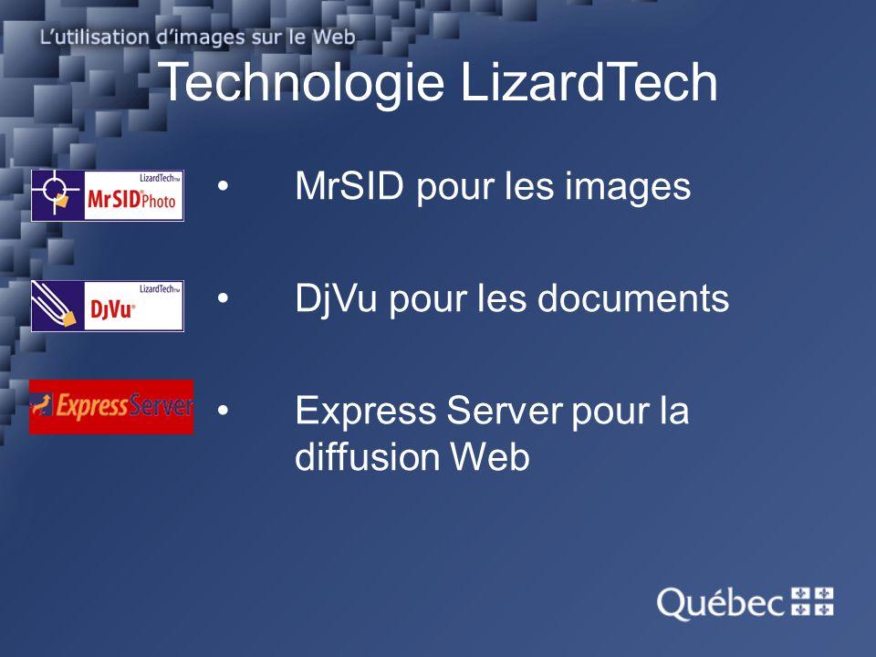 MrSID pour les images DjVu pour les documents Express Server pour la diffusion Web Technologie LizardTech