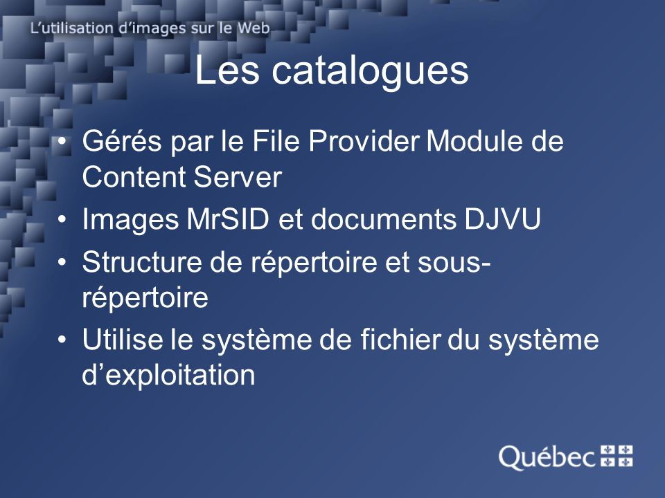 Les catalogues Gérés par le File Provider Module de Content Server Images MrSID et documents DJVU Structure de répertoire et sous- répertoire Utilise le système de fichier du système dexploitation
