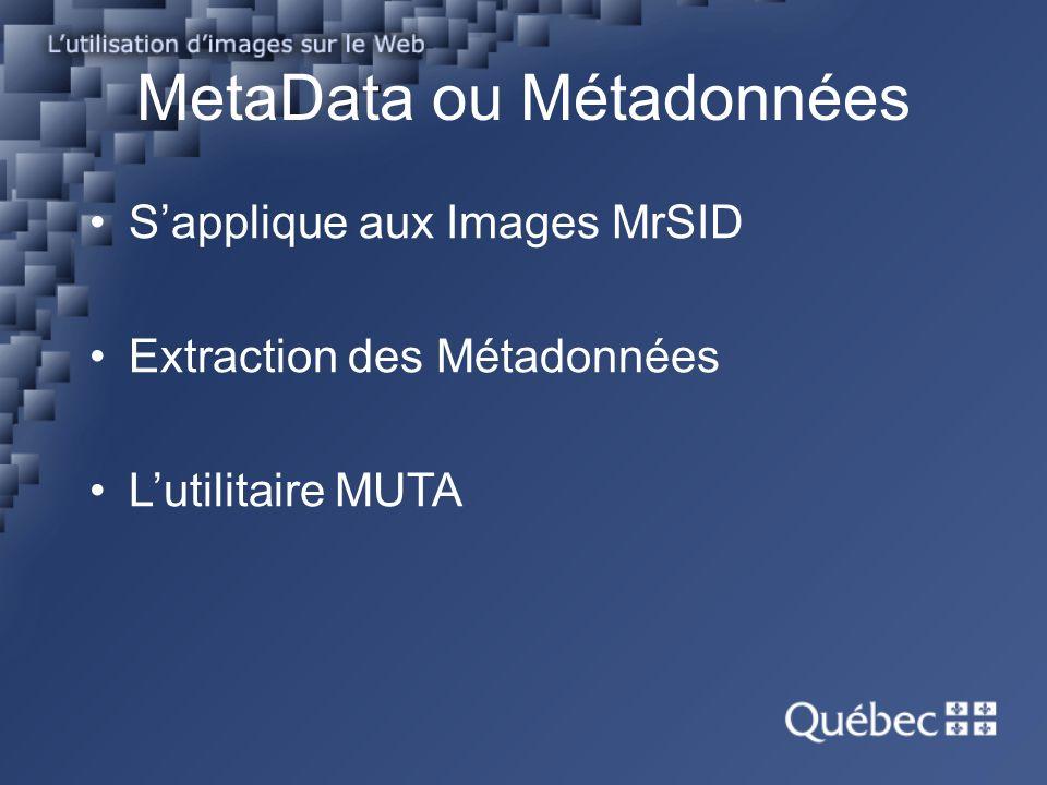 MetaData ou Métadonnées Sapplique aux Images MrSID Extraction des Métadonnées Lutilitaire MUTA