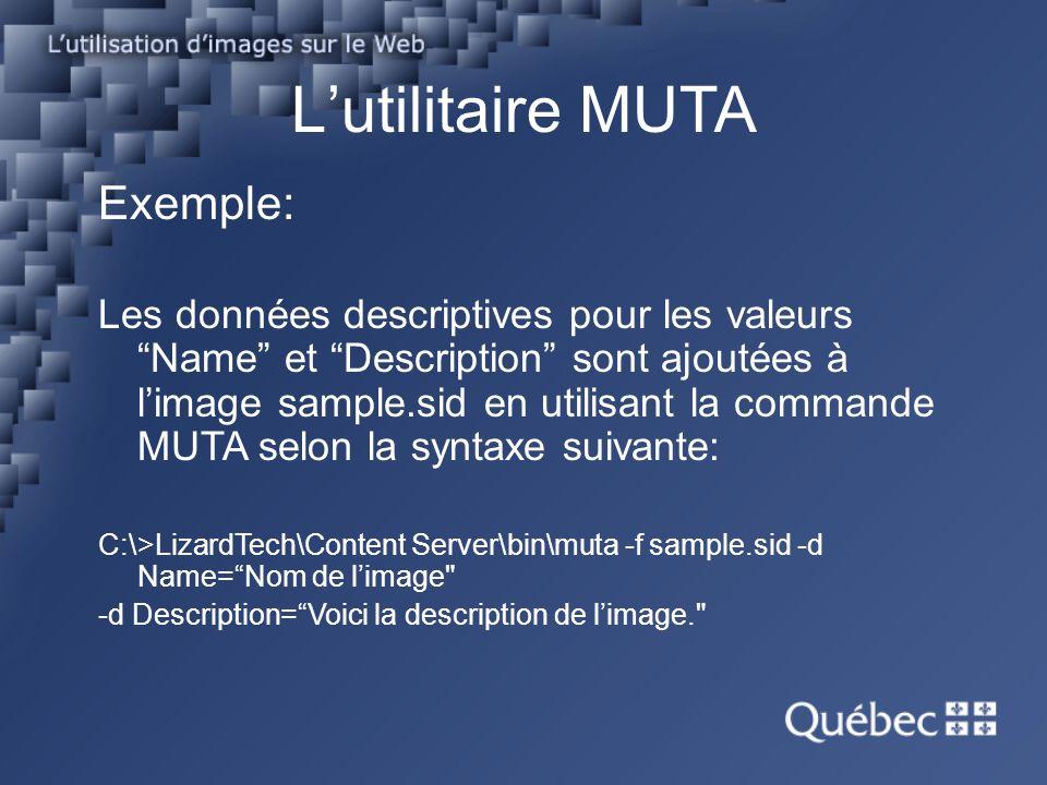 Lutilitaire MUTA Exemple: Les données descriptives pour les valeursName et Description sont ajoutées à limage sample.sid en utilisant la commande MUTA selon la syntaxe suivante: C:\>LizardTech\Content Server\bin\muta -f sample.sid -d Name=Nom de limage -d Description=Voici la description de limage.