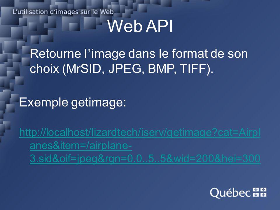 Web API Retourne l image dans le format de son choix (MrSID, JPEG, BMP, TIFF).