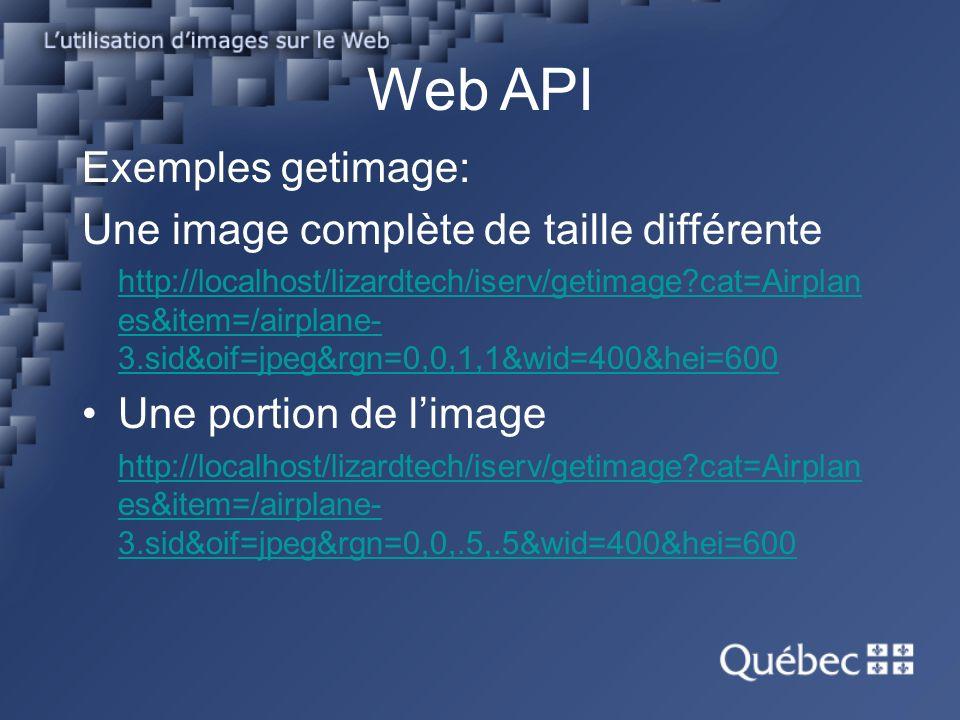 Web API Exemples getimage: Une image complète de taille différente http://localhost/lizardtech/iserv/getimage?cat=Airplan es&item=/airplane- 3.sid&oif=jpeg&rgn=0,0,1,1&wid=400&hei=600 Une portion de limage http://localhost/lizardtech/iserv/getimage?cat=Airplan es&item=/airplane- 3.sid&oif=jpeg&rgn=0,0,.5,.5&wid=400&hei=600