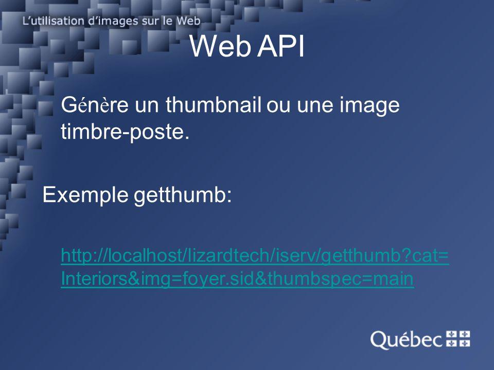 Web API G é n è re un thumbnail ou une image timbre-poste.