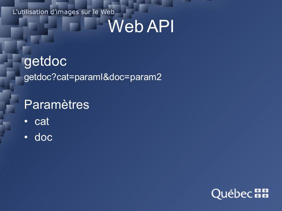 Web API getdoc getdoc?cat=paraml&doc=param2 Paramètres cat doc