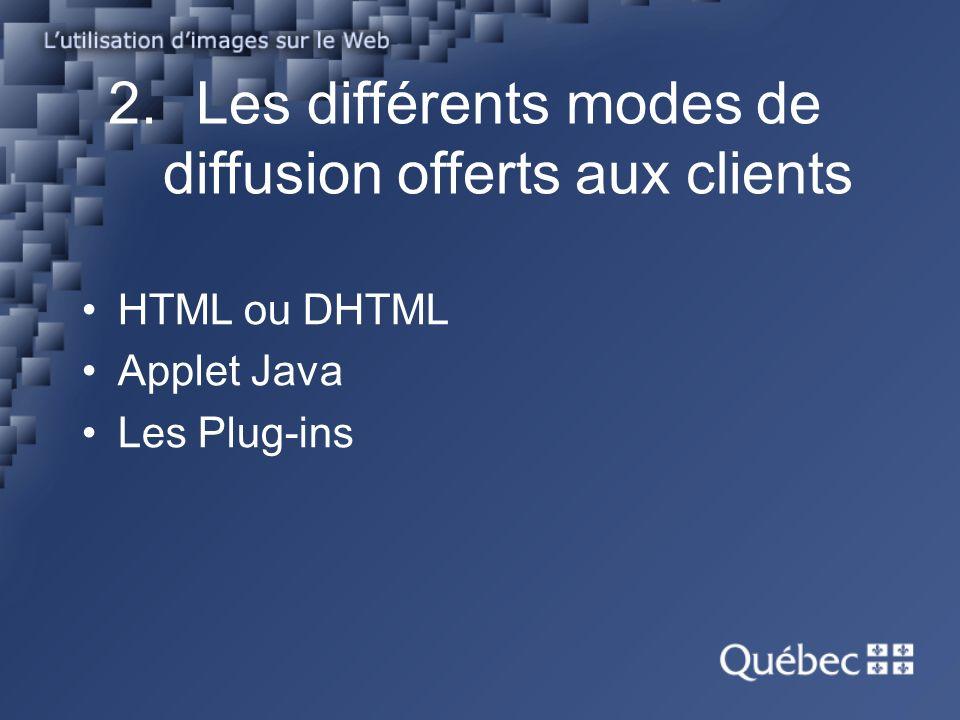 2.Les différents modes de diffusion offerts aux clients HTML ou DHTML Applet Java Les Plug-ins