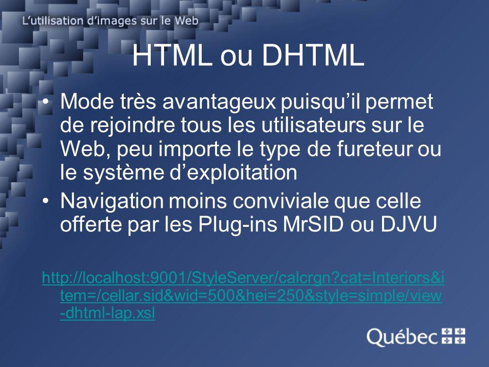 HTML ou DHTML Mode très avantageux puisquil permet de rejoindre tous les utilisateurs sur le Web, peu importe le type de fureteur ou le système dexploitation Navigation moins conviviale que celle offerte par les Plug-ins MrSID ou DJVU http://localhost:9001/StyleServer/calcrgn?cat=Interiors&i tem=/cellar.sid&wid=500&hei=250&style=simple/view -dhtml-lap.xsl