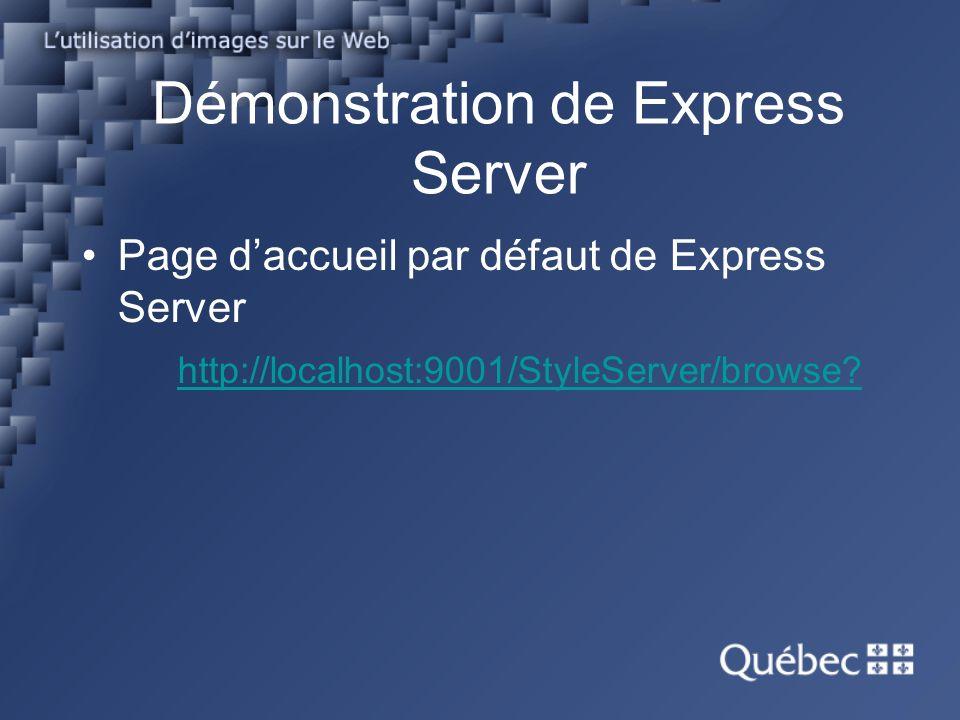 Démonstration de Express Server Page daccueil par défaut de Express Server http://localhost:9001/StyleServer/browse?