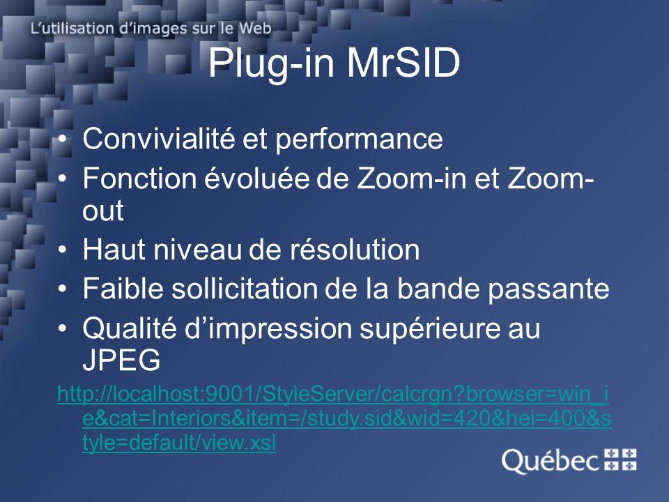 Plug-in MrSID Convivialité et performance Fonction évoluée de Zoom-in et Zoom- out Haut niveau de résolution Faible sollicitation de la bande passante Qualité dimpression supérieure au JPEG http://localhost:9001/StyleServer/calcrgn?browser=win_i e&cat=Interiors&item=/study.sid&wid=420&hei=400&s tyle=default/view.xsl