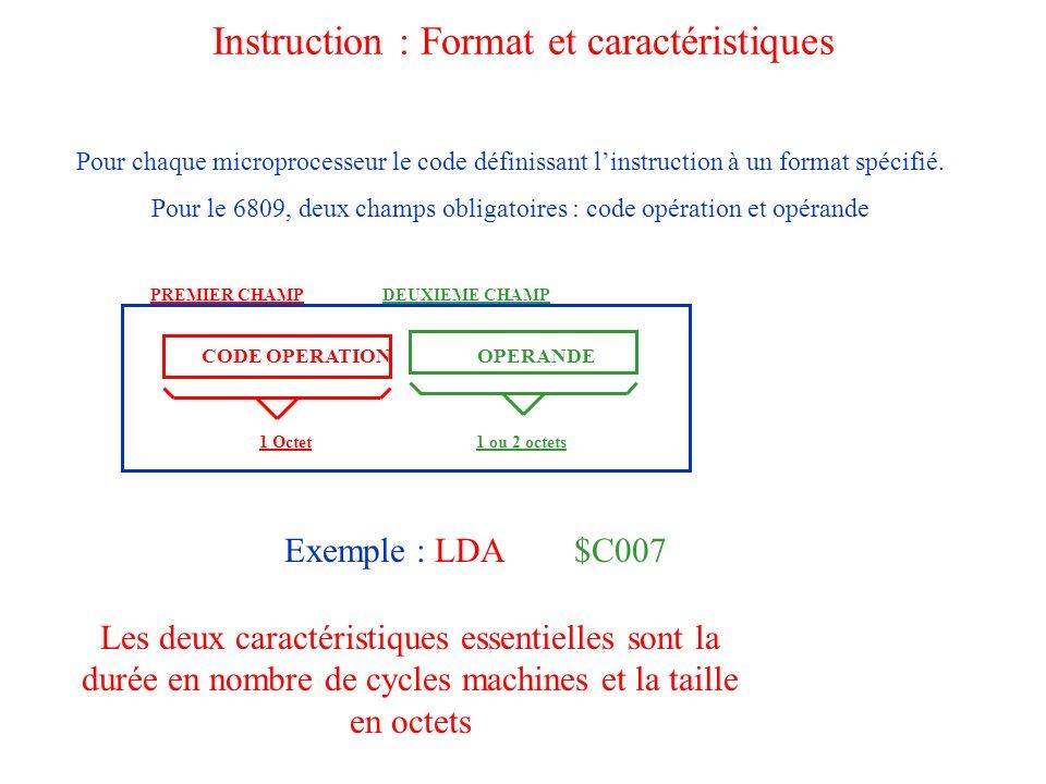 Instruction : Format et caractéristiques Pour chaque microprocesseur le code définissant linstruction à un format spécifié. Pour le 6809, deux champs