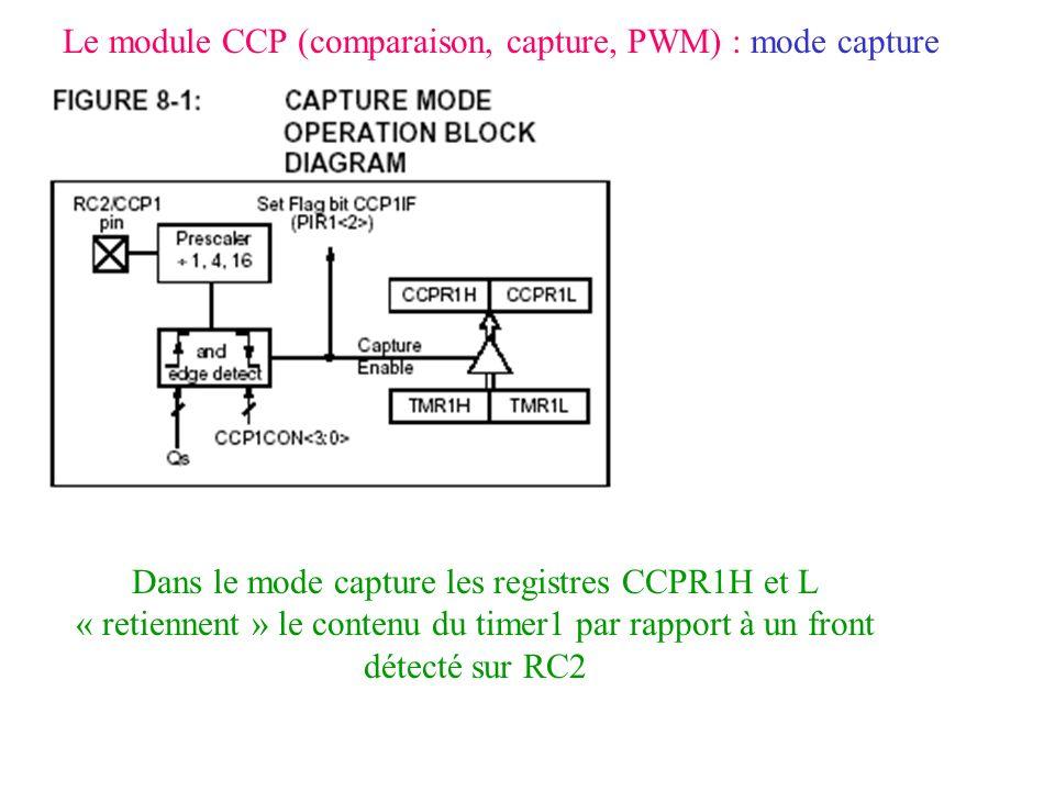 Le module CCP (comparaison, capture, PWM) : mode capture Dans le mode capture les registres CCPR1H et L « retiennent » le contenu du timer1 par rappor