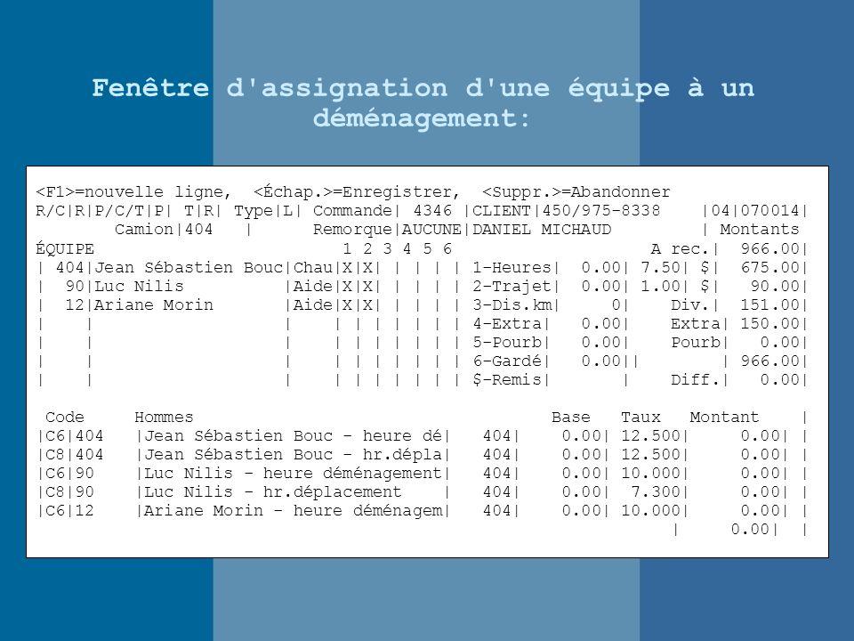 Fenêtre d assignation d une équipe à un déménagement: =nouvelle ligne, =Enregistrer, =Abandonner R/C|R|P/C/T|P| T|R| Type|L| Commande| 4346 |CLIENT|450/975-8338 |04|070014| Camion|404 | Remorque|AUCUNE|DANIEL MICHAUD | Montants ÉQUIPE 1 2 3 4 5 6 A rec.| 966.00| | 404|Jean Sébastien Bouc|Chau|X|X| | | | | 1-Heures| 0.00| 7.50| $| 675.00| | 90|Luc Nilis |Aide|X|X| | | | | 2-Trajet| 0.00| 1.00| $| 90.00| | 12|Ariane Morin |Aide|X|X| | | | | 3-Dis.km| 0| Div.| 151.00| | | | | | | | | | | 4-Extra| 0.00| Extra| 150.00| | | | | | | | | | | 5-Pourb| 0.00| Pourb| 0.00| | | | | | | | | | | 6-Gardé| 0.00|| | 966.00| | | | | | | | | | | $-Remis| | Diff.| 0.00| Code Hommes Base Taux Montant | |C6|404 |Jean Sébastien Bouc - heure dé| 404| 0.00| 12.500| 0.00| | |C8|404 |Jean Sébastien Bouc - hr.dépla| 404| 0.00| 12.500| 0.00| | |C6|90 |Luc Nilis - heure déménagement| 404| 0.00| 10.000| 0.00| | |C8|90 |Luc Nilis - hr.déplacement | 404| 0.00| 7.300| 0.00| | |C6|12 |Ariane Morin - heure déménagem| 404| 0.00| 10.000| 0.00| | | 0.00| |