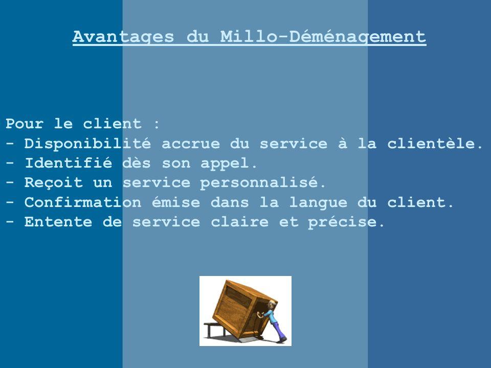 Avantages du Millo-Déménagement Pour le client : - Disponibilité accrue du service à la clientèle.