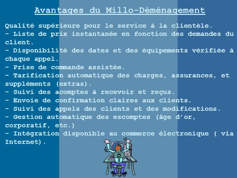 Avantages du Millo-Déménagement Qualité supérieure pour le service à la clientèle.