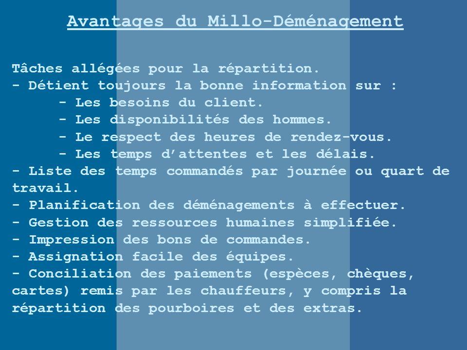 Avantages du Millo-Déménagement Tâches allégées pour la répartition.