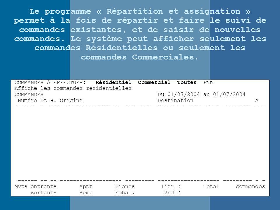 Le programme « Répartition et assignation » permet à la fois de répartir et faire le suivi de commandes existantes, et de saisir de nouvelles commandes.