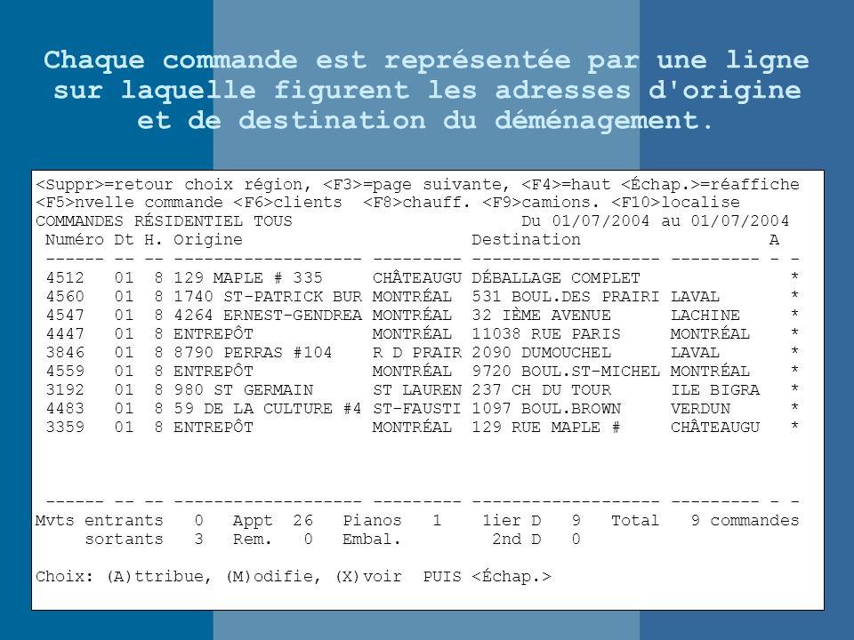 Chaque commande est représentée par une ligne sur laquelle figurent les adresses d origine et de destination du déménagement.