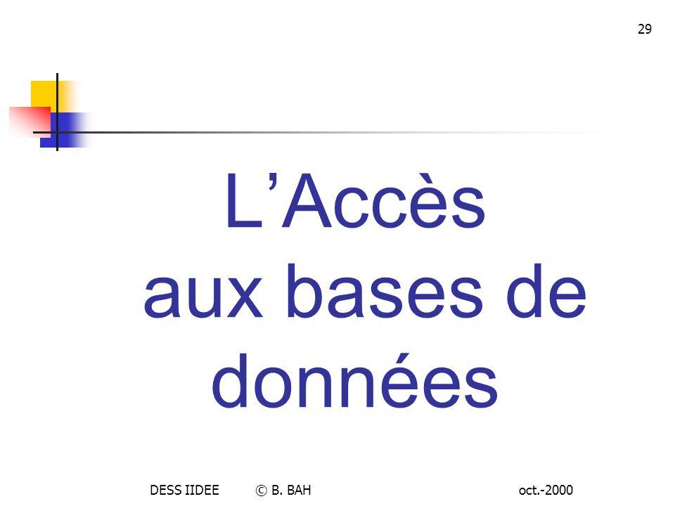 oct.-2000DESS IIDEE © B. BAH 29 LAccès aux bases de données