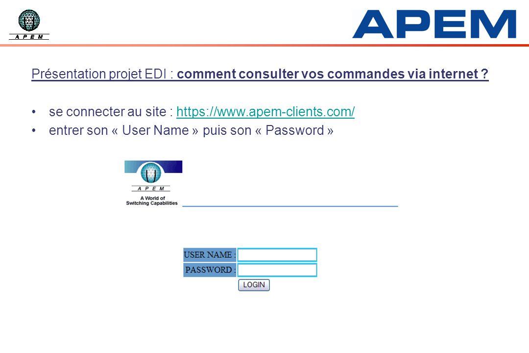 Présentation projet EDI : comment consulter vos commandes via internet ? se connecter au site : https://www.apem-clients.com/https://www.apem-clients.
