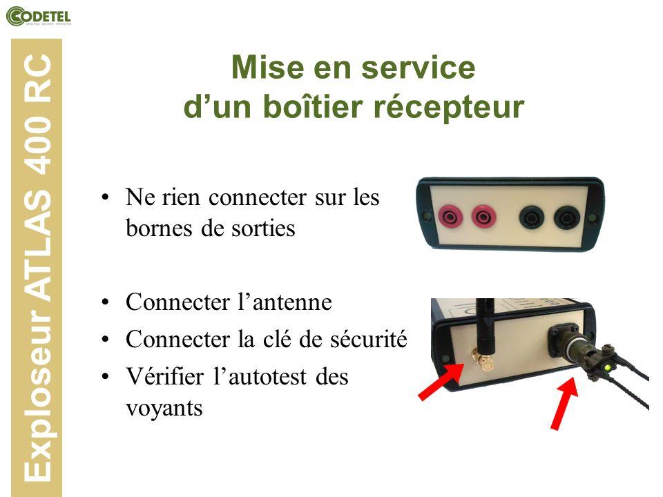 Mise en service dun boîtier récepteur Ne rien connecter sur les bornes de sorties Connecter lantenne Connecter la clé de sécurité Vérifier lautotest d