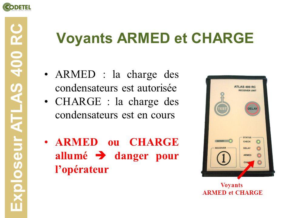 Voyants ARMED et CHARGE ARMED : la charge des condensateurs est autorisée CHARGE : la charge des condensateurs est en cours ARMED ou CHARGE allumé dan