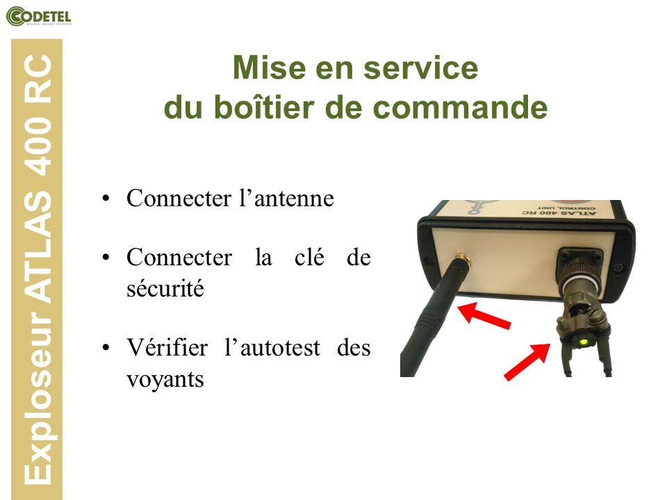 Mise en service du boîtier de commande Connecter lantenne Connecter la clé de sécurité Vérifier lautotest des voyants Exploseur ATLAS 400 RC