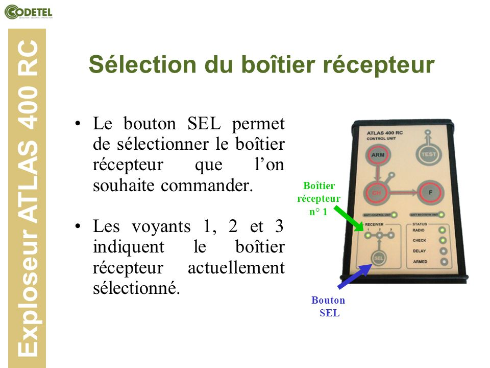 Sélection du boîtier récepteur Le bouton SEL permet de sélectionner le boîtier récepteur que lon souhaite commander. Les voyants 1, 2 et 3 indiquent l