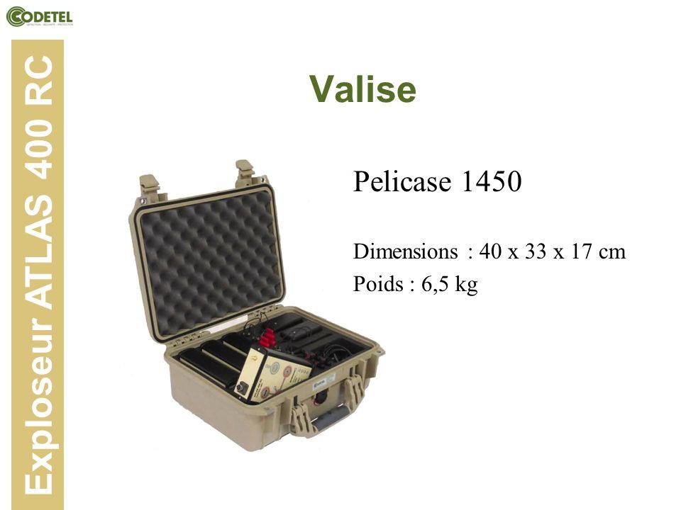 Valise Exploseur ATLAS 400 RC Pelicase 1450 Dimensions : 40 x 33 x 17 cm Poids : 6,5 kg