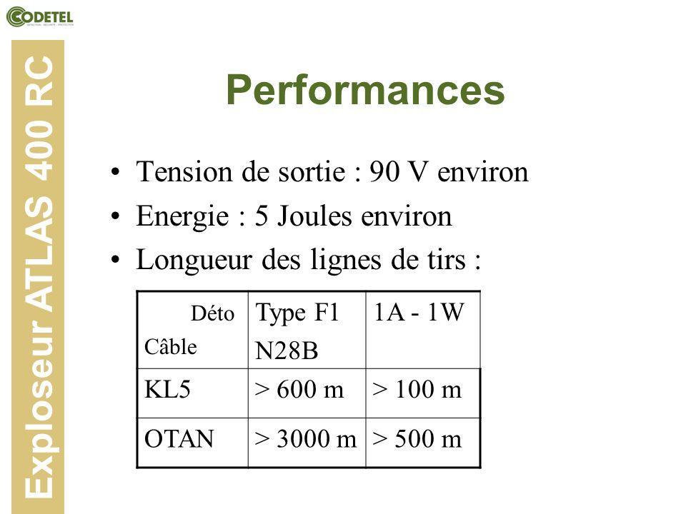 Performances Tension de sortie : 90 V environ Energie : 5 Joules environ Longueur des lignes de tirs : Déto Câble Type F1 N28B 1A - 1W KL5> 600 m> 100