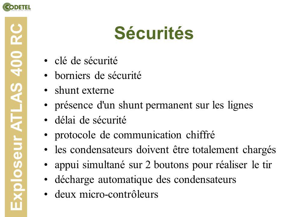 Sécurités clé de sécurité borniers de sécurité shunt externe présence d'un shunt permanent sur les lignes délai de sécurité protocole de communication